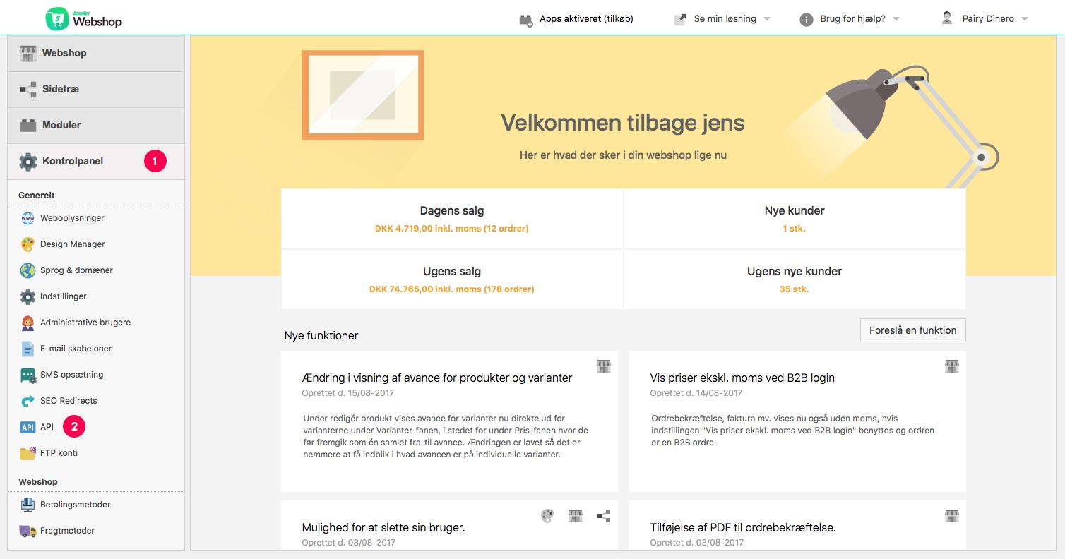 Scannet Webshop opsætning step 1